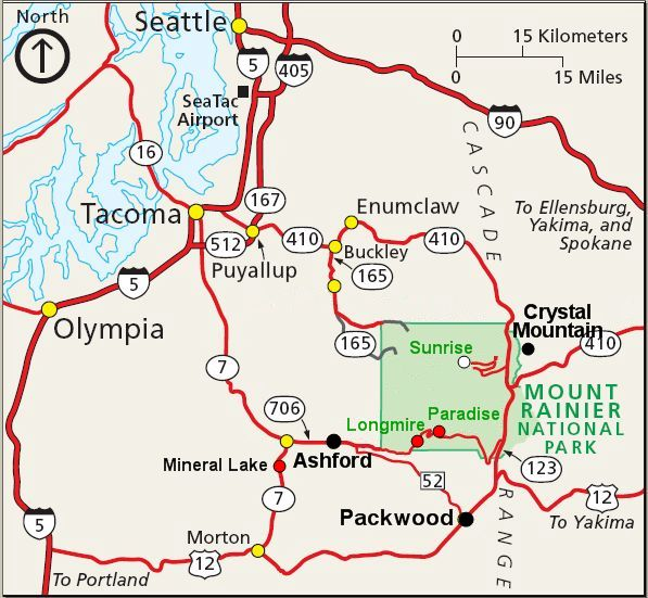 Mt Rainier Visitor Guide RainierVisitorGuide – Tourist Attractions Map In Washington State